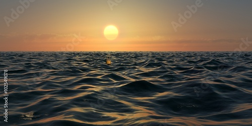 Yellow Sunrise or Sunset Panorama Over Ocean Waves