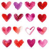 Fototapety Watercolor hearts set. Red, purple, violet watercolor hearts.