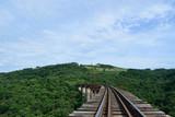 Caminhando sobre os trilhos de trem