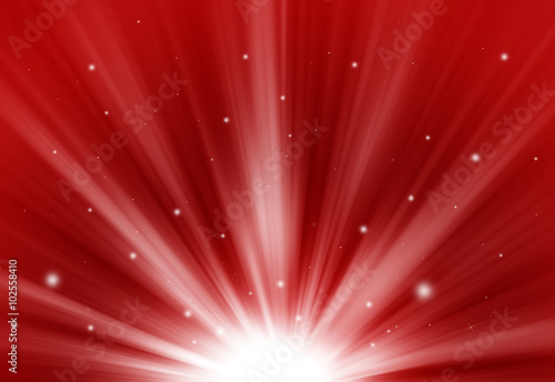 Poster Red glitter sparkle defocused rays lights bokeh abstract chistmas background