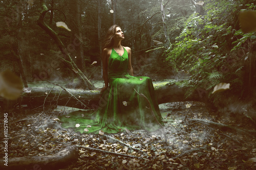 Woman wears a green dress in the forest Poster
