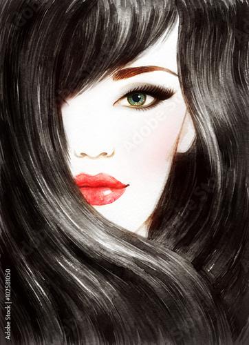 Fototapeta Beautiful woman face. Long healthy hair. Abstract fashion watercolor illustration