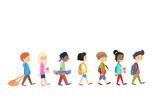Fototapety Children Group Walking School Students Go Isolated