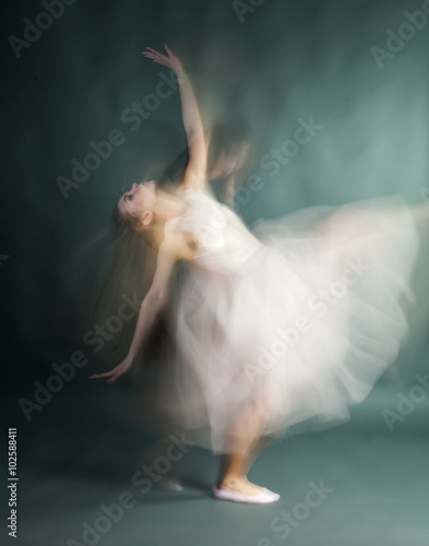 Ballet dancer woman in motion blur, ballerina Plakát