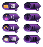 Game UI. Icons with a choice of various parameters of time, money, weapons and elixir design for mobile and browser-based online applications and games.