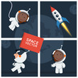 Little funny astronaut floated in space with rocket