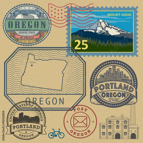 Nampa (ID) United States  City new picture : Stamp set with the name and map of Oregon, United States