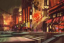 """Постер, картина, фотообои """"sci-fi scene showing shopping street,futuristic cityscape"""""""