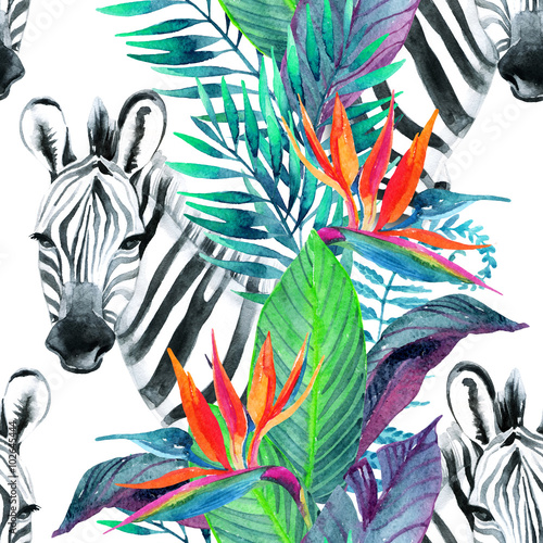 Materiał do szycia Tropical jungle seamless pattern. Floral design with zebra on white background.