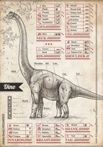 Dino. Vintage poster to decorate the interior of the cafe, pub or home dining room - 102648838