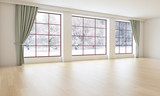 Empty Living Room / Office Interior With Winter Scene