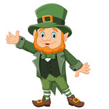 Cartoon happy leprechaun waving hand