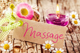 Massage sign on tree bark with decorations - 102654849