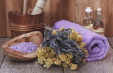 Fototapety Natural spa treatment with lavender and helichrysum (immortelle)