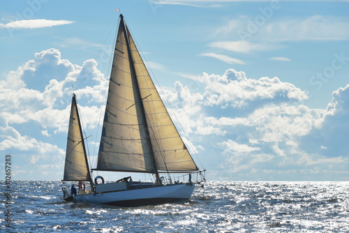 Poster Yacht sailing on a sunny day in Riga bay