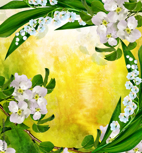 Plexiglas Lelietjes van dalen spring landscape. Flowering Pear