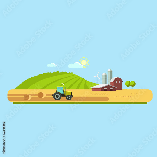 Fotobehang Boerderij Farm life: natural economy, agriculture, harvesting, life in the countryside, rural landscapes with fields and hills. Tractor in the field harvests. Vector flat illustration