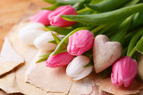 Fototapety Tulip flowers and wooden heart