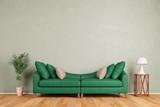 Fototapety Grünes Sofa vor Wand im Wohnzimmer