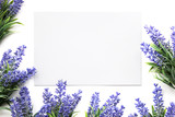 Fototapety Artifical lavender flowers and blank paper Mockup.
