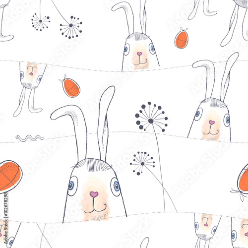Materiał do szycia Hand drawn Easter seamless pattern. Easter Bunnies and Easter eggs