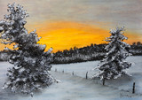 Fotoroleta Pastellbild Winterlandschaft