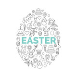 Vector concept with different Easter and Spring celebration elements.