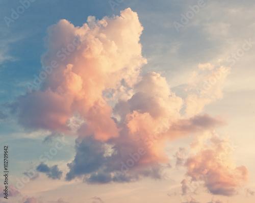 Fototapeta Sunny sky background in vintage retro style