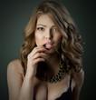 Beauty sexy young woman studio fashion portrait