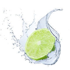 Fresh Lime With Water Splash