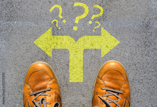 Poster Confused which way to go or choose direction concept