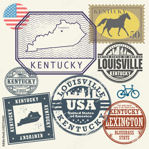 Nampa (ID) United States  City new picture : Stamp set with the name and map of Kentucky, United States