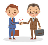 握手をするビジネスマン(若い男性と中年の男性)