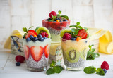Fototapety Chia and berry smoothies