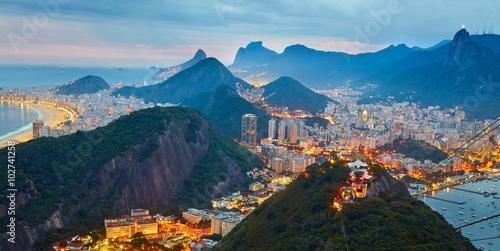 Poster Night panorama of Rio de Janeiro, Brazil