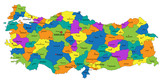 Fototapety Colorful Turkey political map with clearly labeled, separated layers. Vector illustration.