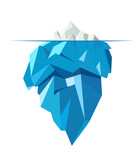 Isolated full big iceberg, flat style illustration
