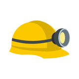 Fototapety Miners helmet with lamp flat icon