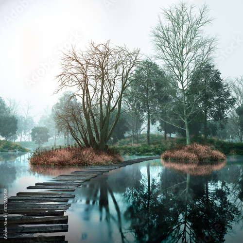 Keuken foto achterwand Bestsellers Autumn vintage landscape with old woods and lake