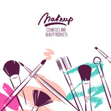 Watercolor hand drawn illustration of makeup brushes on colorful - 102766637