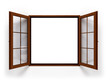 open dark wooden window isolated close up - 102767808