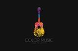 Fototapety Guitar. Colorful logo. Rainbow guitar. music logo. Creative logo