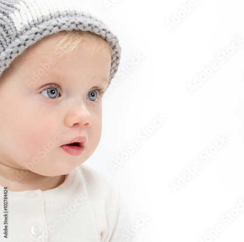 fototapeta na ścianę little child baby portrait in hat