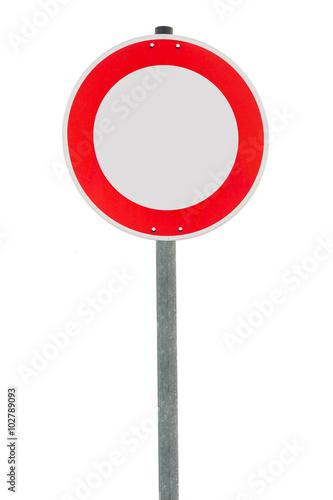 Poster Verbot für Fahrzeuge aller Art an einem Metallpfahl  Freisteller