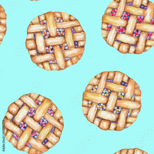 A seamless sweet pattern with the berry pie. Painted in a watercolor hand-drawn on a turquoise background