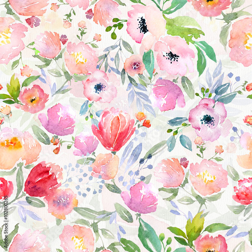 Cotton fabric watercolor floral pattern