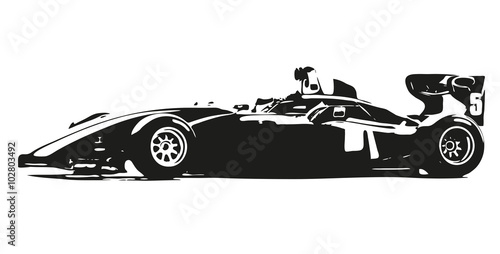 Fototapeta Formula car vector silhouette illustration
