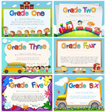 Fototapety Diploma templates for primary school