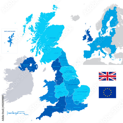 Poster Vector Administrative UK Map