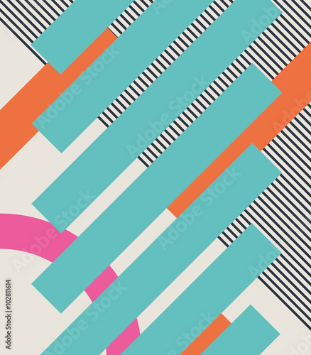 Abstract retro 80s background with geometric shapes and pattern. Material design. - 102811614